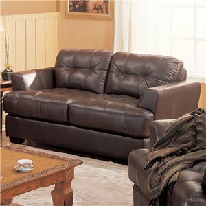 Leather Loveseat with Button Tufted Back & Exposed Wood Feet