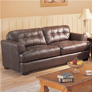 Leather Sofa with Button Tufted Back & Exposed Wood Legs