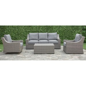 Outdoor Wicker Sofa, Chair and Cocktail Table with Aluminum Frame
