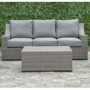 Aluminum and Wicker Outdoor Sofa