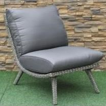 Scoop Armless Wicker and Aluminum Chair by Primo International at Beds N Stuff