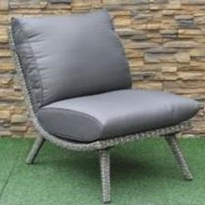 Armless Wicker and Aluminum Outdoor Chair