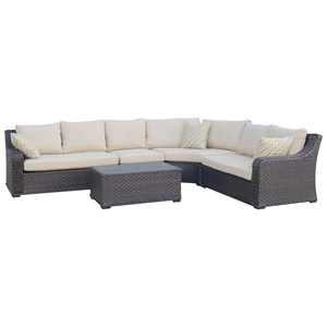 Wicker and Aluminum Outdoor Sectional and Cocktail Table Set