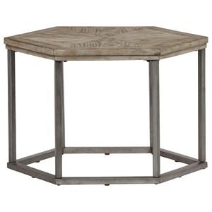 Ash Veneer Hexagon Bunching Cocktail Table with Metal Frame