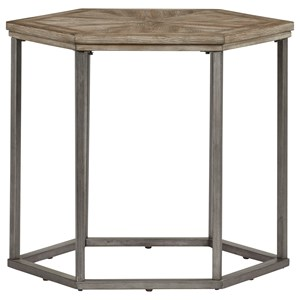 Ash Veneer Hexagon End Table with Metal Frame