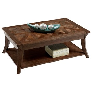 Rectangular Cocktail Table with Parquet Table Top
