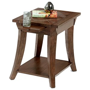 Chairside Table with Pull-Out Shelf & Parquet Table Top