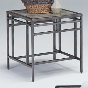 Square End Table with Wood Look Tile Top