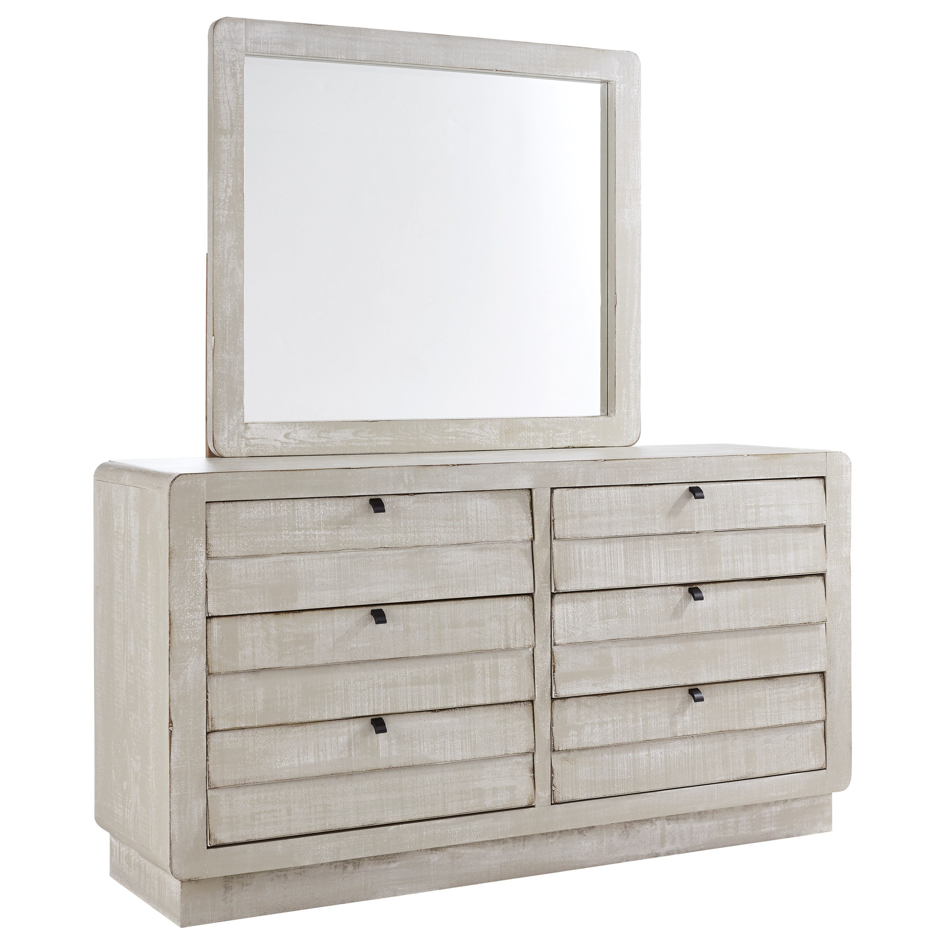 Bliss Gray Chalk Dresser and Mirror Combination by Progressive Furniture at Bullard Furniture