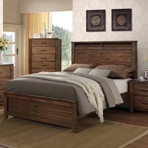 Rustic Queen Size Bed with Headboard Shelf