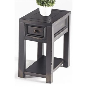 Transitional Chairside Table with 1 Drawer and Lower Open Shelf
