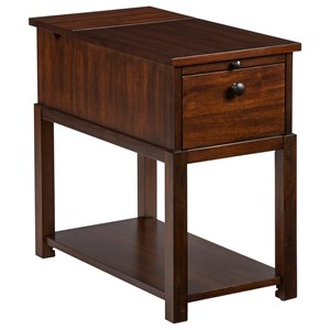 Chairside Table with Pull Out Shelf, Outlets, and USB Ports
