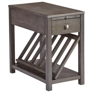 Gray Finish Chairside Table with Pull Out Shelf and Removable Magazine Rack
