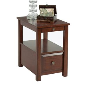 Chairside Table with Pull Out Shelf, Shelf, and Drawer