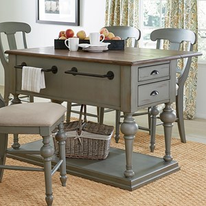 Transitional Cottage Kitchen Island with Drop Leaf