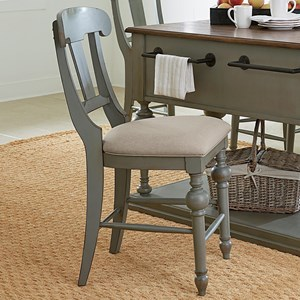 Transitional Slat Counter Chair with Upholstered Seat