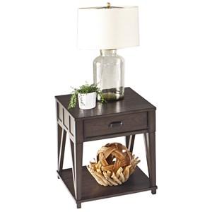 Oak Veneer Rectangular End Table with Drawer