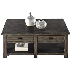 Rustic Rectangular Cocktail Table with Storage in Gray Finish