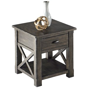 Rustic Rectangular End Table in Gray Finish