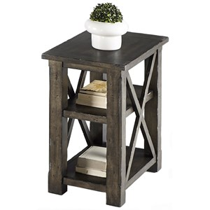Rustic Chairside Table with 2 Shelves in Gray Finish