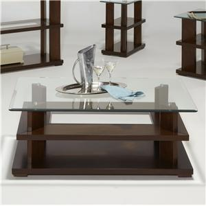 Contemporary Glass Top Rectangular Cocktail Table with Casters