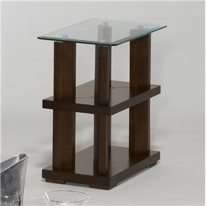 Contemporary Chairside Table with Glass Top