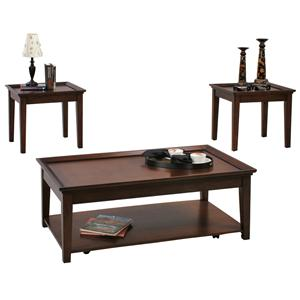 3 Piece Occasional Table Set with 2 End Tables and 1 Cocktail Table