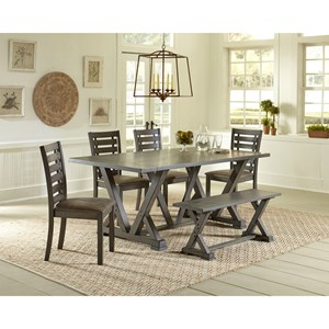 Relaxed Vintage 6-Piece Table and Chair Set with Bench