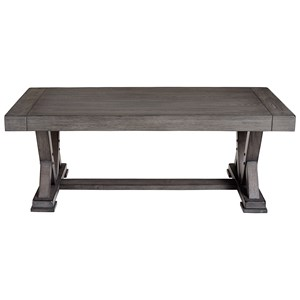 Transitional Rectangular Cocktail Table with Trestle Base