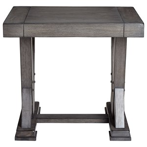 Relaxed Vintage Rectangular End Table with Trestle Base