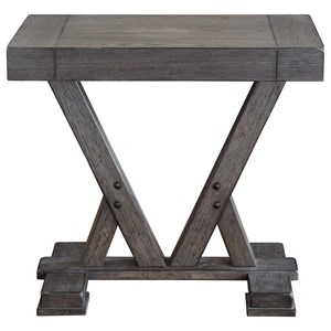 Relaxed Vintage Chairside Table with Trestle Base