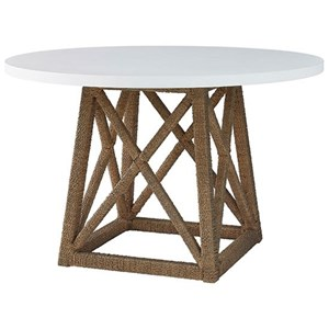 Accent Dining Table with Woven Seagrass Base and White MDF Top