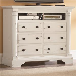 Traditional Media Chest with 6 Drawers and Scalloped Bracket Foot Base