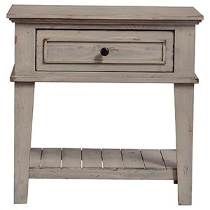 Relaxed Vintage Nightstand with Slatted Shelf