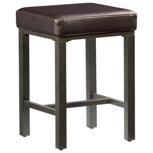 Industrial Counter Stool with Upholstered Seat