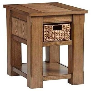 Casual Chairside Table with 1 Woven Basket