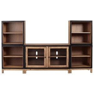 Rustic Industrial Modular Entertainment Center with Adjustable Shelves and Wire Management