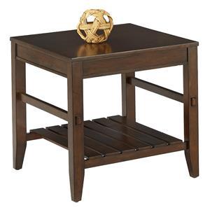 Rectangular End Table with Slat Shelf