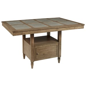 Transitional Tile Counter Height Pub Table with Storage