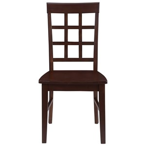 Transitional Dining Chair with Lattice Back