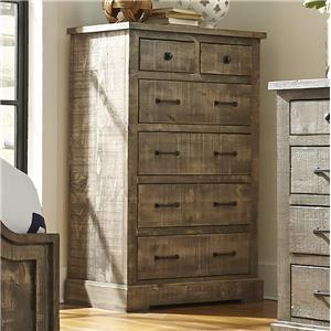 Rustic Pine Drawer Chest with 6 Drawers