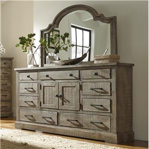 Rustic Pine Door Dresser with 6 Drawers & 2 Center Doors
