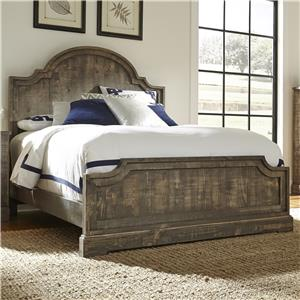 Rustic Pine King Panel Bed with Scalloped Trim