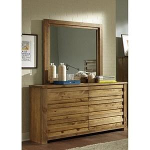 Rustic Drawer Dresser and Mirror Set