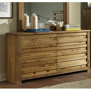 Rustic Drawer Dresser with Paneled Case Front