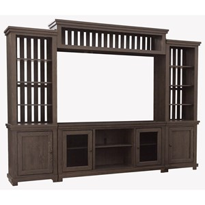 Contemporary Entertainment Center with Adjustable Shelving and Wire Management