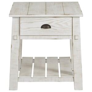 Farmhouse Rectangular End Table with Slatted Shelf