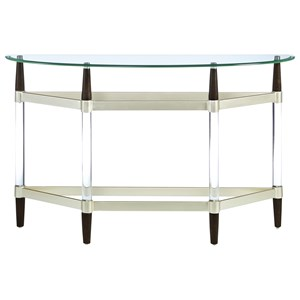 Contemporary Sofa Console Table with Glass Top