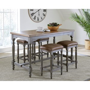Shabby Chic Counter Height Table and Stools Set with Upholstered Seats