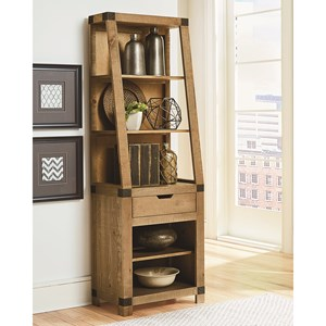 Rustic Pier Unit with Open Shelving and Metal Accents